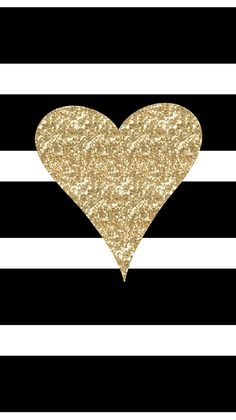 Freebie: Adorable new iPhone 6 wallpaper! Black & White Stripes with Gold Glitter Heart!