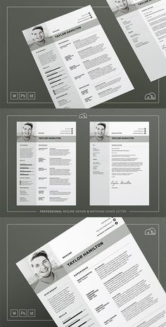 Resume / CV Template - Taylor - A structured and modern design, 'Taylor' offers a meticulously crafted layout to suit any profession. Also included is a matching cover letter (including sample letter) for a complete presentation. #resume #cv #template