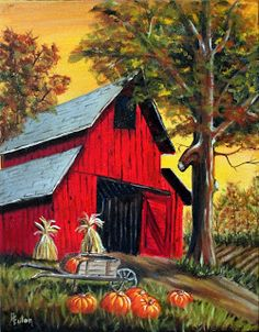 Red Barn at Harvest Time, Autumn Farm Scene with Pumpkins Original Oil Paintings, Yellow Sky Red Barn Painting, Fall Canvas Painting, Autumn Painting, Autumn Art, Canvas Art, Autumn Prints, Pumpkin Painting, Farm Paintings, Landscape Paintings