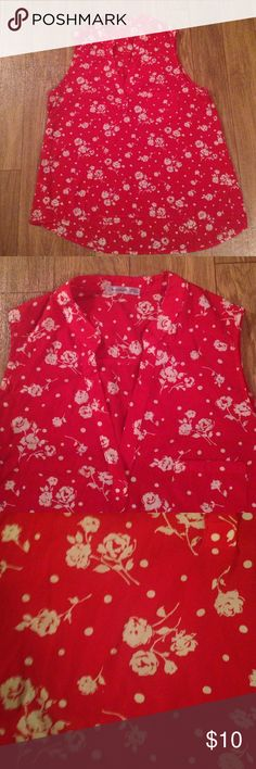 Red shirt Excellent condtion bright red and white Urban Outfitters Tops