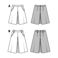 sporty pant-skirt with hip yoke pockets. only when the box pleats spread, you do   realize that this is a proper pant-skirt.