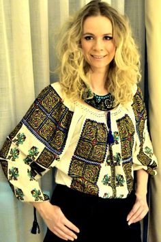 @foto credit: carmen lescencu  Ie traditionala romaneasca, brodata manual!  Handmade embroidered romanian traditional blouse.A beautiful tradition and a beautiful outfit, ready to be wear in every moment of the day! For me, it was a fascinating new year eve outfit!Enjoy the beauty and the colours of this wonderful romanian traditional blouse. Made in Romania by Fb@ana alexandru from Buzau, Romania viataestefantastica.blogspot.com Contact me for more detailes: carmenles@gmail.com