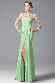 Sheath/Column Jewel Sweep/Brush Train Chiffon Prom Dress