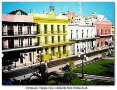 Tampico, Mexico - I used to go to this post office - the yellow building that says Correos.