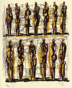 """Henry Moore, Thirteen Standing Figures, 1958 (Original lithograph printed on English handmade wove paper. Hand signed and dated by the artist in pencil """"Moore lower right. Life Drawing, Figure Drawing, Henry Moore Drawings, Henry Moore Sculptures, Sculpture Art, Metal Sculptures, Abstract Sculpture, Bronze Sculpture, Geometric Sculpture"""