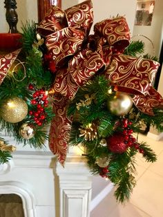 36 FT Christmas Garland Classic Christmas Decorations Red//Gold Set of 2