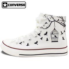 Blanco converse all star de lona pintados a mano zapatos de las mujeres de los hombres diseño de jaula de pájaro zapatillas pisos high top regalos presenta