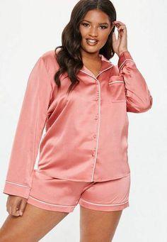 bb21a2023cf Missguided Plus Size Pink Satin Pyjama Set