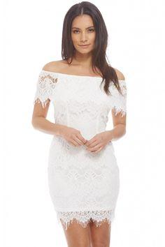 Women's white eyelash over lay trim dress<br/><div class='zoom-vendor-name'>By <a href=http://www.ustrendy.com/AXParisUSA>AX Paris USA</a></div>