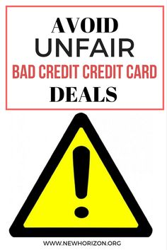 How to Avoid Unfair Bad Credit Credit Card Deals
