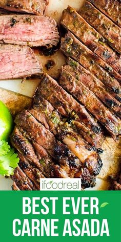 Carne Asada is thinly sliced grilled steak served in tacos, burritos, salad or rice and beans. This is the best carne asada recipe with easy and super flavourful marinade.  I have been perfecting the marinade for 2 summers. You have to try it! Delicious Crockpot Recipes, Healthy Grilling Recipes, Healthy Family Meals, Clean Eating Recipes, Quick Meals, Healthy Eating, Best Carne Asada Recipe, Steak Marinade For Grilling, Tacos And Burritos