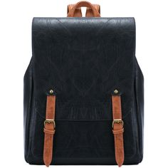 SheIn(sheinside) Black Leather Buckle PU Backpack ($23) ❤ liked on Polyvore featuring bags, backpacks, rucksack bag, pu backpack, knapsack bags, black bag and polyurethane bags