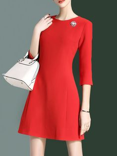 Simple 3/4 Sleeve Crew Neck Plain Mini Dress
