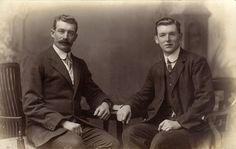 Two Edwardian men, Southsea, UK, circa 1910. The style of clothing is great for Higgins/Pickering