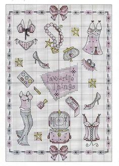 0 point de croix vetements et accessoires de fille - cross stitch girl's accessories and clothes