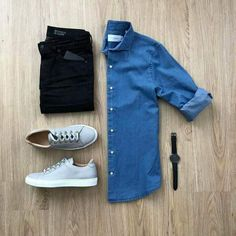 Men Casual Shirt Outfit 🖤 Very Attractive Casual Outfit Grid, Best Smart Casual Outfits, Mens Casual Dress Outfits, Smart Casual Men, Stylish Mens Outfits, Cool Outfits, Boujee Outfits, Basic Outfits, Fashion Outfits, Casual Shirt