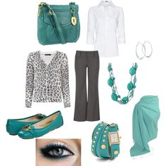 """work clothes"" Gray and teal or aqua"