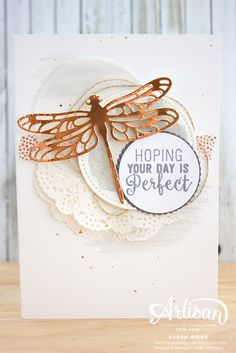 Detailed Dragonfly + Suite Sentiments ~ Susan Wong Reposted by Karten Diy, Bee Cards, Beautiful Handmade Cards, Butterfly Cards, Summer Crafts, Paper Cards, Greeting Cards Handmade, Crafts To Do, Diy Crafts