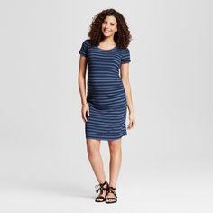 78cfab96b Maternity Body Con Textured Stripe Short Sleeve Tee Dress Dark Shadow Blue  XL - Liz Lange