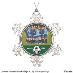 Custom Soccer Photo Collage Name Team Number Snowflake Pewter Christmas Ornament