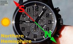 Instructions how to use your watch as a compass, which will help you find the direction of North-South.