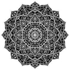 Schwarz Mandala isoliert auf wei�em Hintergrund. Ethnische kreisf�rmigen Muster…