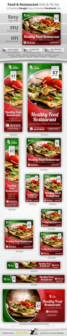 Food & Restaurant Web & Facebook Banners Templates #design #das Download: http://graphicriver.net/item/food-restaurant-web-facebook-banners/11526063?ref=ksioks