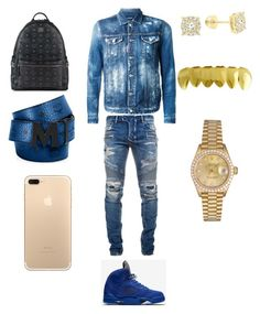 A menswear look from March 2017 featuring balmain men's jeans, mens hooded sweatshirts and mens gold watches. Browse and shop related looks. Dope Outfits For Guys, Swag Outfits Men, Stylish Mens Outfits, Rapper Outfits, Punk Outfits, Tomboy Outfits, Casual Outfits, Teen Boy Fashion, Tomboy Fashion