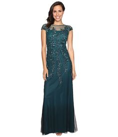 Adrianna Papell Illusion Neckline Embellished Gown