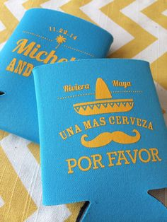 Mexico Destination Wedding can coolers, Sombrero Fiesta coolies, sombrero wedding favors, Destination wedding can coolers