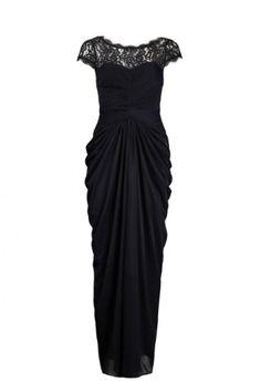 Adrianna Papell Lace Front Zipper Detail Draped Chiffon Dress