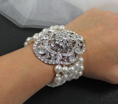 Bridal Bracelet Pearl Wedding Cuff- love!!! enought bling for you Jenna?!? hehe