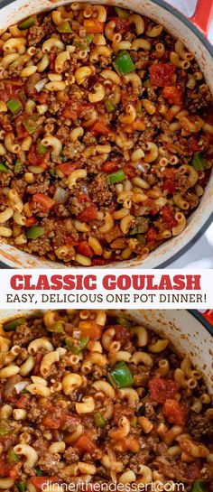 Classic Goulash made in ONE POT with ground beef, bell pepper, onions, and elbow macaroni in a seasoned tomato sauce, ready in under 45 minutes! #pasta #macaroni #hamburgerhelper #goulash #beef #onepot #groundbeef #dinner #dinnerthendessert
