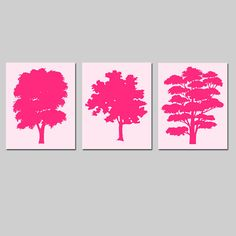 Abstract Trees Trio  Complimentary Set of Three 8x10 by Tessyla