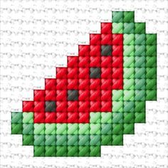Watermelon Art, Watermelon Carving, Watermelon Painting, Cross Stitching, Cross Stitch Embroidery, Hand Embroidery, Cross Stitch Designs, Cross Stitch Patterns, Broderie Simple