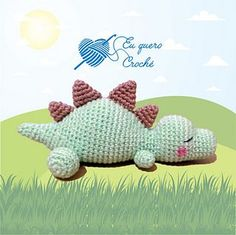 A free crochet pattern of a sleeping baby dino. Do you also want to crochet this. A free crochet pattern of a sleeping baby dino. Do you also want to crochet this baby dino? Read more about the Free Crochet Pattern Sleeping Baby Dino. Crochet Dinosaur Patterns, Crochet Patterns Amigurumi, Baby Knitting Patterns, Amigurumi Doll, Crochet Dolls, Baby Patterns, Doll Patterns, Crochet Baby, Free Crochet