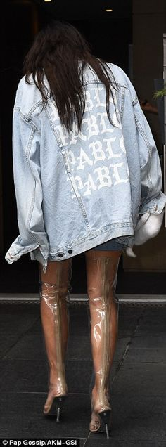 He not only made her shoes, he also made her jacket! On the back of the denim wonder read Pablo, which is the name of West's new album