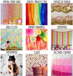 10 DIY Backdrop Ideas for a Party Photo Booth!!! #party #diy #craft #photography #bokeh #kids #birthday #christmas #lights #backdrop #background #photobooth