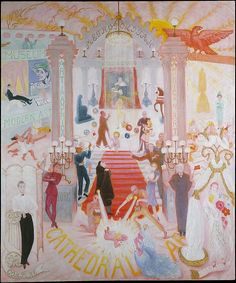 Florine Stettheimer | In this series of four monumental paintings executed between 1929 and 1942, Stettheimer created extraordinary composite visions of New York's economic, social, and cultural institutions. The Cathedrals of Art is a fantastical portrait of the New York art world