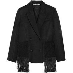 EdunMacramé-trimmed Wool-blend Jacket ($340) ❤ liked on Polyvore featuring outerwear, jackets, black, edun, wool blend jacket, shiny jacket, double breasted jacket and fringe jackets