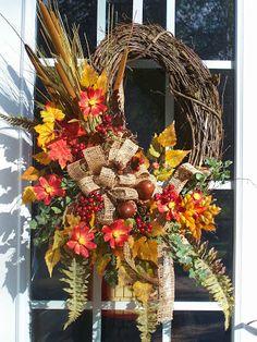 Wreaths and other hand crafted seasonal designs Thanksgiving Mesh Wreath, Autumn Wreaths, Holiday Wreaths, Thanksgiving Crafts, Fall Crafts, Fall Arrangements, Grapevine Wreath, Door Wreaths, Frame Wreath