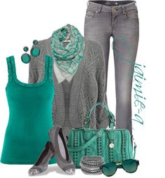 """""""Teal & Gray 2"""" by jaimie-a ❤ liked on Polyvore"""