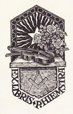 Bookplate by Nico Bulder for P. Hiemstra, teacher at Academie Minerva : Opus 158 Ex Libris, Scratchboard, Dutch Artists, Wood Engraving, Graffiti Art, Packaging Design, Decorative Boxes, Badges, Thursday