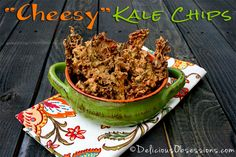 "Learn how to make a home version of Rhythm Superfood's Zesty Nacho Kale Chips. This ""Cheesy"" Kale Chips Recipe is simple to make and taste delicious! Perfect for snacking."