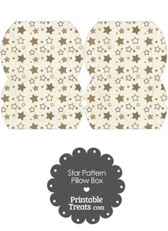Small Vintage Brown Star Pattern Pillow Box from PrintableTreats.com
