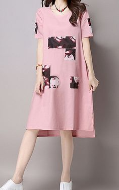 Women loose fitting over plus size patchwork pink dress long tunic fashion chic #Unbranded #dress #Casual