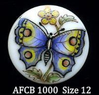 Hand painted Czech glass button blue butterfly - size 12, 27mm AFCB 1000 on Etsy, $10.00