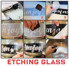Glass etching project with your Silhouette machine. Silhouette Cameo Tutorials, Silhouette Projects, Glass Etching, Etched Glass, Glass Dessert Bowls, Decoupage, Silhouette Portrait, Crafty Craft, Crafting