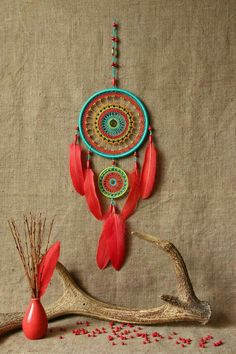 Dream catcher multi color/Bright by MyHappyDreams on Etsy Los Dreamcatchers, Beautiful Dream Catchers, Diy And Crafts, Arts And Crafts, Deco Boheme, Diy Décoration, Hippie Gypsy, String Art, Suncatchers