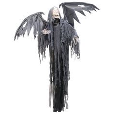 """Hanging Grim Reaper with Animated Wints.  light-up eyes, a moving head and animated wings.  Sound activated.  Requires 3 AA batteries.  78""""  $35  www.orientaltrading.com"""